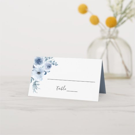 Watercolor Dusty Blue Bohemian Floral Wedding Place Card
