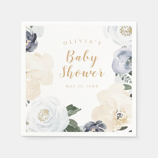 watercolor dusty blue floral baby shower napkin