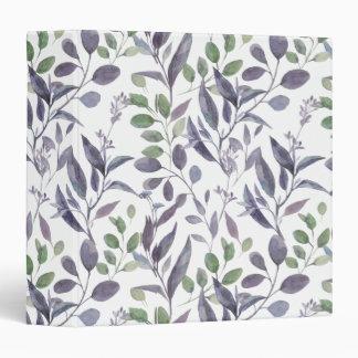 Watercolor Dusty Purple Sage Green Leaves | 3 Ring Binder