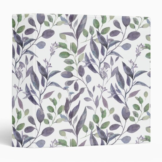 Watercolor Dusty Purple Sage Green Leaves | 3 Ring Binder