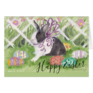 Watercolor Dutch Rabbit Easter Eggs Card