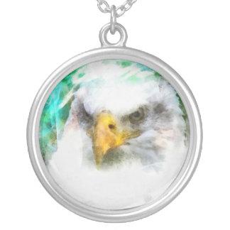 Watercolor Eagle Round Pendant Necklace
