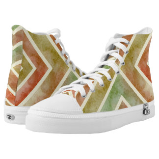 Watercolor earthy colors geometric chevron stripes High-Top sneakers