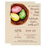 Watercolor Easter Brunch and Egg Hunt Invitation. Invitation