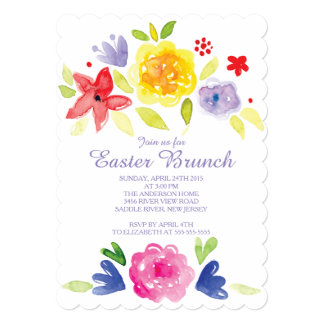 Watercolor  Easter Brunch Dinner Party Invitation