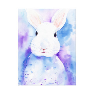 Watercolor Easter Bunny Portait Canvas Print