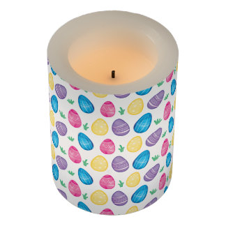 Watercolor Easter Egg Hunt Pattern Flameless Candle