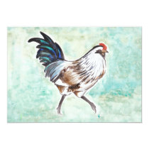 Watercolor Easter Egger Rooster Invitation