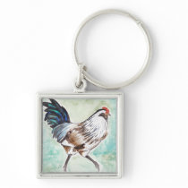 Watercolor Easter Egger Rooster Keychain