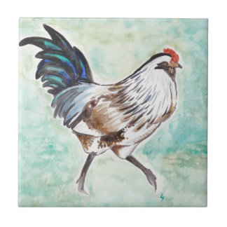 Watercolor Easter Egger Rooster Small Square Tile