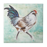 Watercolor Easter Egger Rooster Tiles