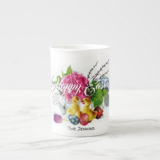 Watercolor Easter Eggs, Ducklings & Spring Flowers Tea Cup