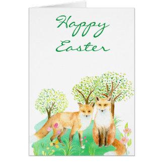 Watercolor Easter fox Card