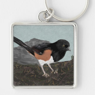 Watercolor Eastern Towhee Keychain