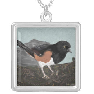 Watercolor Eastern Towhee Necklace
