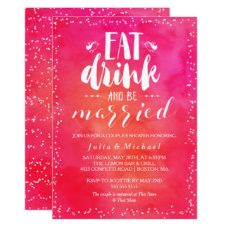 Watercolor Eat Drink & Be Married Couple's Shower Card