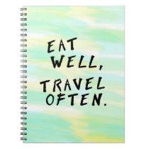 "Watercolor ""Eat Well, Travel Often"" Notebook"