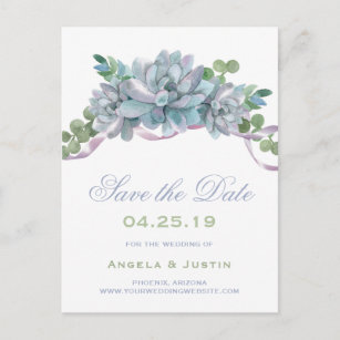 Watercolor Echeveria Purple Ribbon Save the Date Announcement Postcard