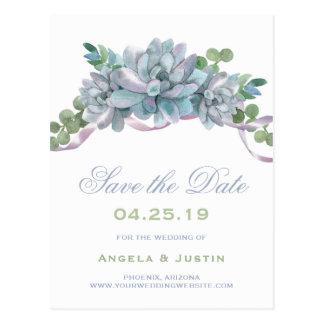 Watercolor Echeveria Purple Ribbon Save the Date Postcard