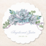 """Watercolor Echeveria with Purple Ribbon Paper Coaster<br><div class=""""desc"""">Watercolor succulents in pastel purple and green with a delicate ribbon detail.  Customize the text by changing the style or color. Available in a variety of party products. Contact me if you need assistance.</div>"""