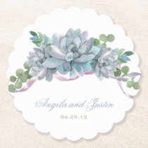 Watercolor Echeveria with Purple Ribbon Paper Coaster