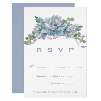 Watercolor Echeveria with Purple Ribbon RSVP Card