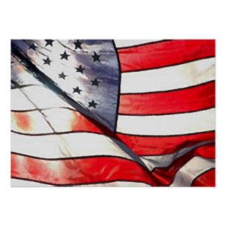 Watercolor Effect Photo American Flag Canvas Print