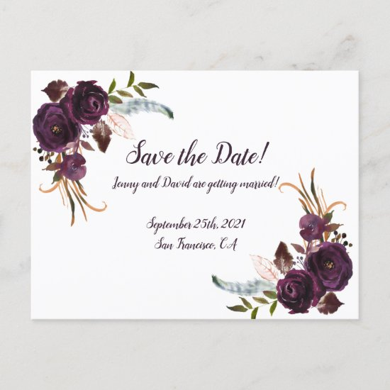 Watercolor Eggplant Purple Floral Save The Date Invitation Postcard
