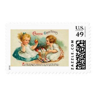 Watercolor Eggs Easter Greetings Stamps