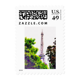 Watercolor Eiffel Tower Postage