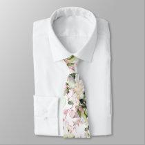 Watercolor Elegant Blush Pink Gum Eucalyptus Neck Tie