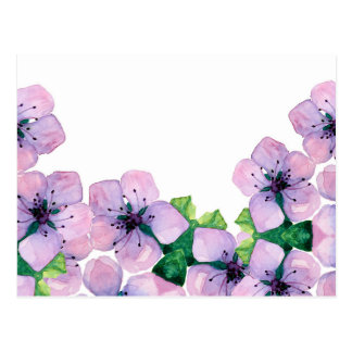 Watercolor elegant card with japanese sakura postcard