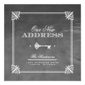"Watercolor Elegant Key Moving Announcement 5.25"" Square Invitation Card"