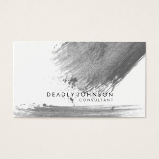 Watercolor Elegant Simple Splatter Black Gray Business Card