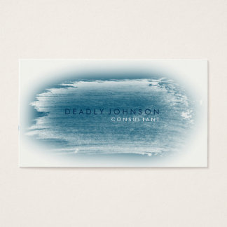 Watercolor Elegant Simple Splatter Blue Business Card