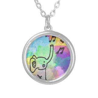 Watercolor Elephant 1 Silver Plated Necklace