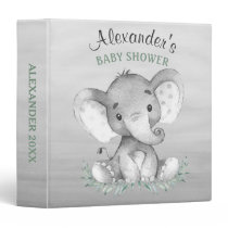 Watercolor Elephant Baby Shower Photo Album Binder