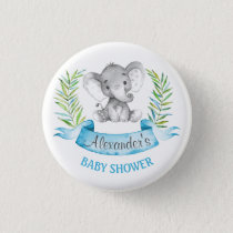 Watercolor Elephant Boy Baby Shower Button