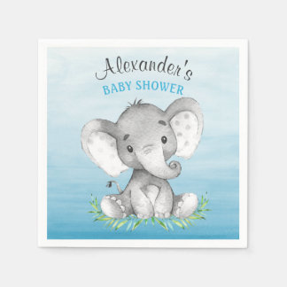 Watercolor Elephant Boy Baby Shower Paper Napkin