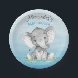 "Watercolor Elephant Boy Baby Shower Paper Plate<br><div class=""desc"">This adorable paper plate with cute little watercolor baby elephant on an watercolor background and modern calligraphy script is the perfect for any baby shower or special event in style. Personalize with your own special text, and use it for the party or event of your choice. Matching items including baby...</div>"