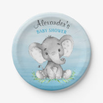 Watercolor Elephant Boy Baby Shower Paper Plate