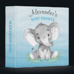 """Watercolor Elephant Boy Baby Shower Photo Album Binder<br><div class=""""desc"""">This adorable photo album with cute little watercolor baby elephant on an watercolor background and modern calligraphy script is the perfect for any baby shower or special event in style. Personalize with your own special text, and use it for the party or event of your choice. Matching items including baby...</div>"""