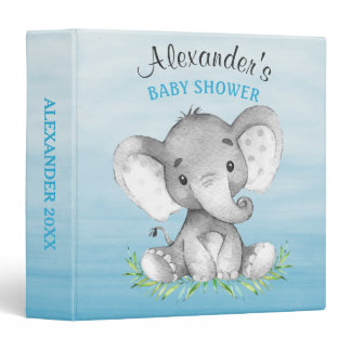Watercolor Elephant Boy Baby Shower Photo Album Binder