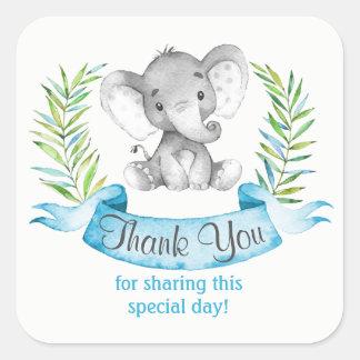 Watercolor Elephant Boy Thank You Square Sticker