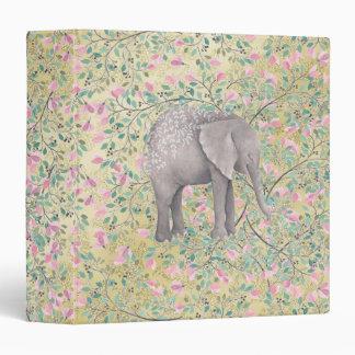 Watercolor Elephant Flowers Gold Glitter Binder