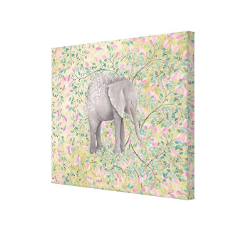 Watercolor Elephant Flowers Gold Glitter Canvas Print