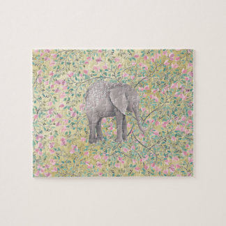 Watercolor Elephant Flowers Gold Glitter Jigsaw Puzzle