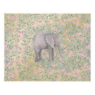Watercolor Elephant Flowers Gold Glitter Panel Wall Art