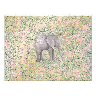Watercolor Elephant Flowers Gold Glitter Photo Print