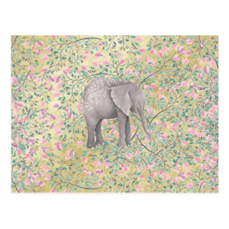 Watercolor Elephant Flowers Gold Glitter Postcard